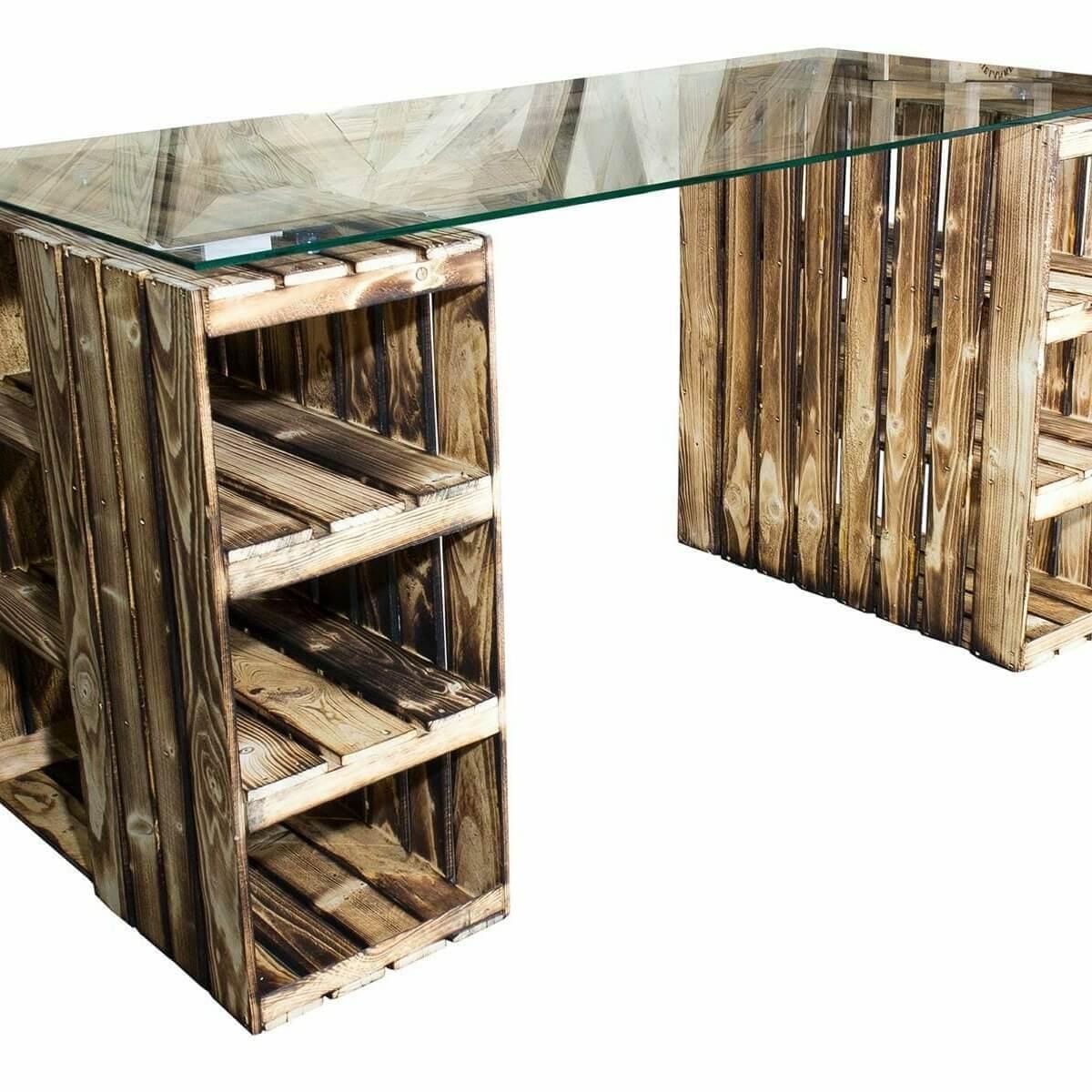 ᐅᐅ Weinkisten Tisch Schreibtisch Mit Glasplatte Holzkisten Shop