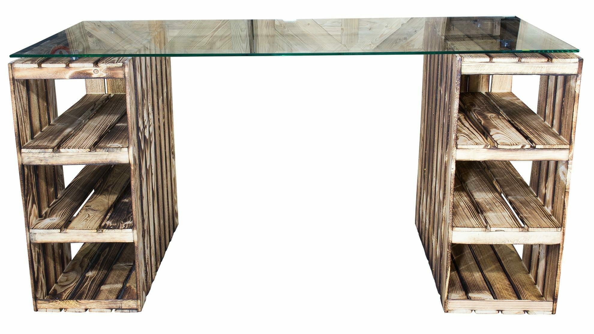 Weinkisten tisch schreibtisch mit glasplatte for Schreibtisch shop