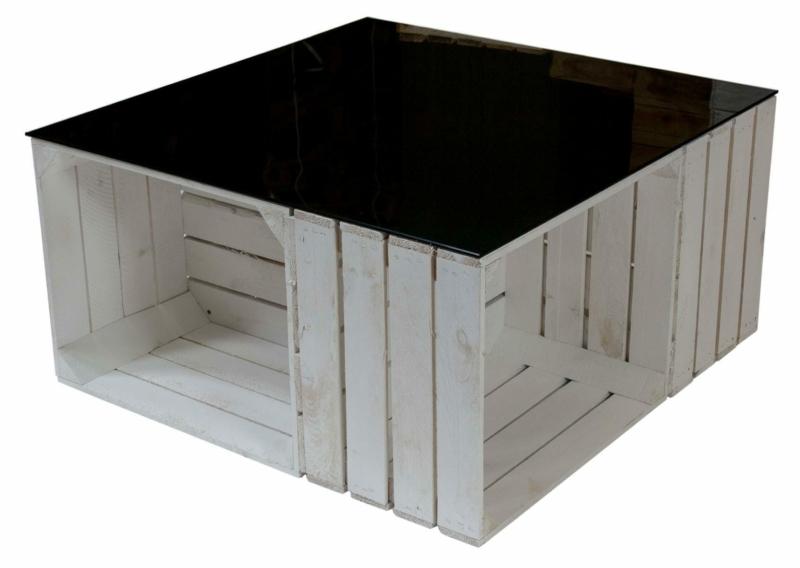 Apfelkisten Tisch mit schwarzer Glasplatte