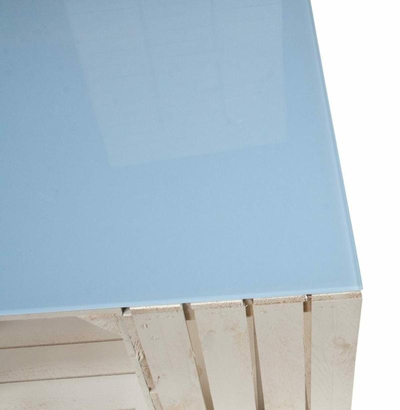 Shabby Chic Holzkisten Tisch mit Glasplatte