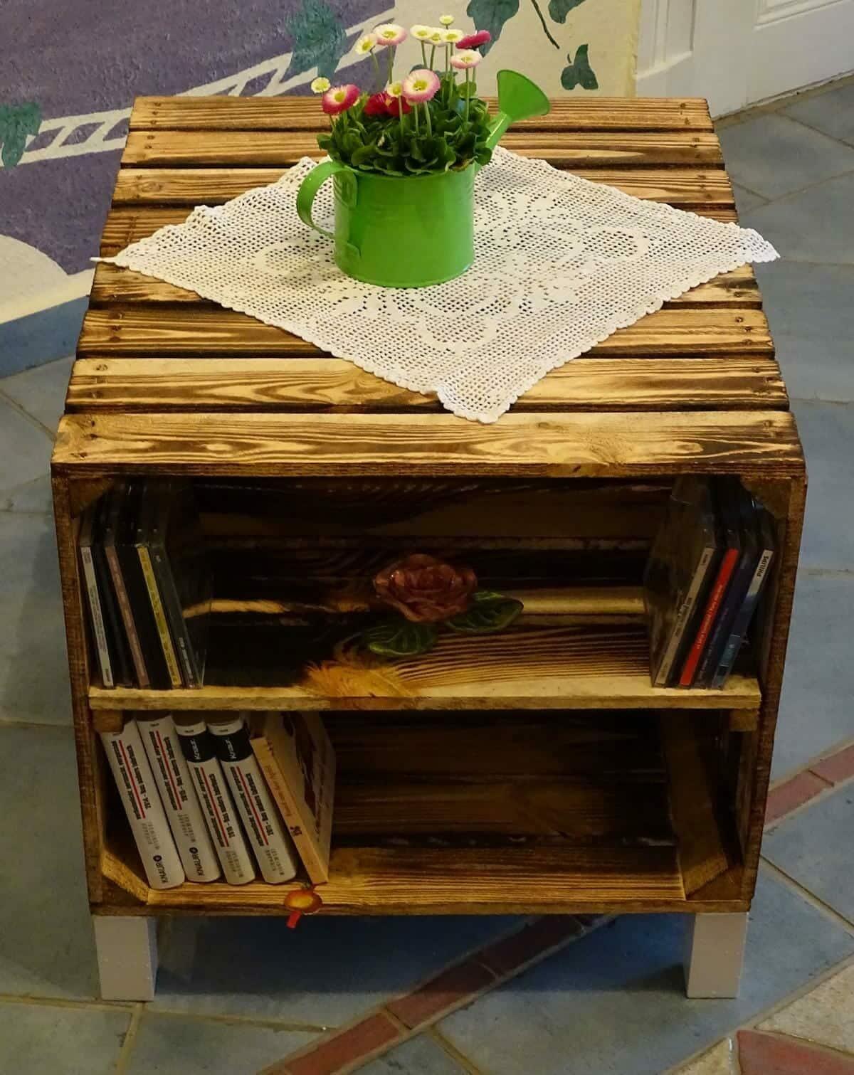 beistelltisch aus geflammten kisten mit f en holzkisten shop. Black Bedroom Furniture Sets. Home Design Ideas