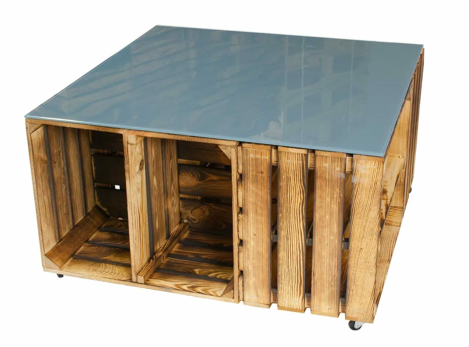 obstkisten tisch aus geflammten apfelkisten mit. Black Bedroom Furniture Sets. Home Design Ideas