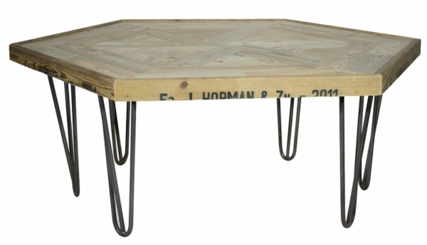 Sechseck Tisch auf Hairpin Legs