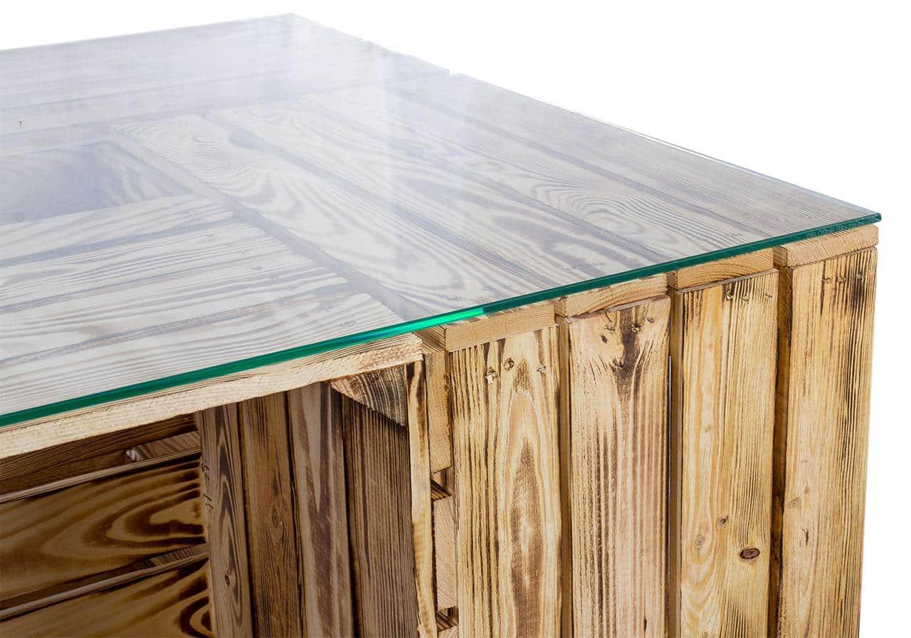 ᐅ Apfelkisten Tisch Geflammt Mit Glasplatte Rollen Saris Garage