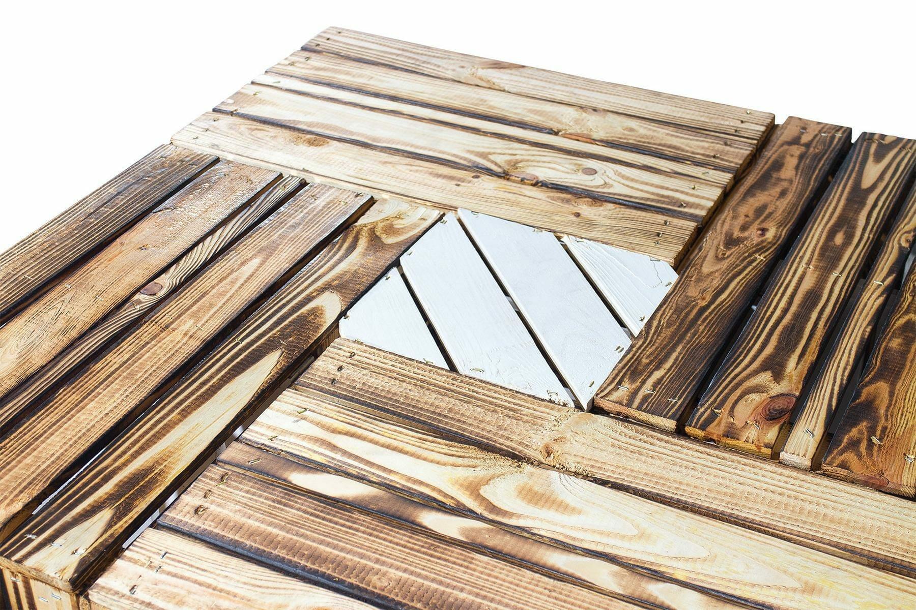 Fußboden Aus Holzklötzen ~ ᐅ couchtisch aus geflammten apfelkisten auf holzklötzen shop