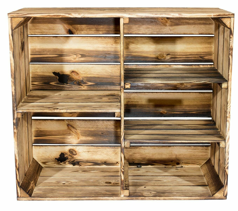 geflammtes holzkisten regal mit 3 mittelbrettern trennwand shop. Black Bedroom Furniture Sets. Home Design Ideas