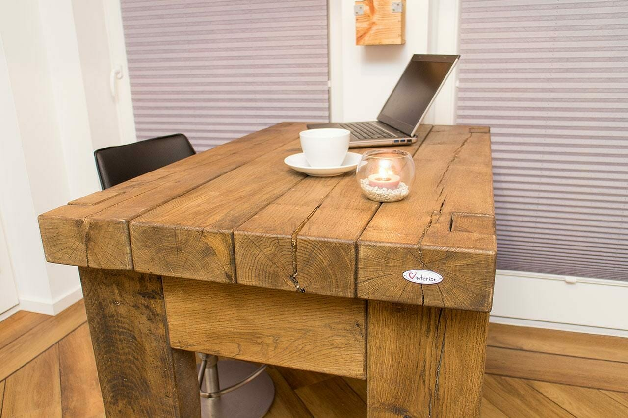 massiver tisch aus eichenholz 120x86x80cm vintage m bel shop. Black Bedroom Furniture Sets. Home Design Ideas
