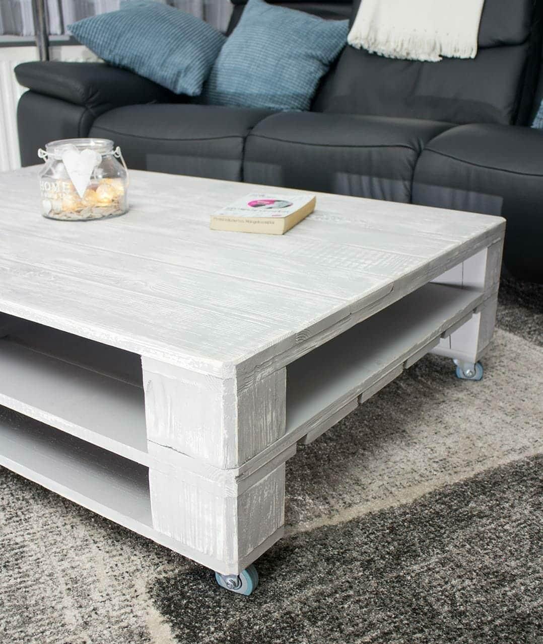ᐅ Palettentisch - Tisch aus Paletten auf Rollen - 120x80 ...