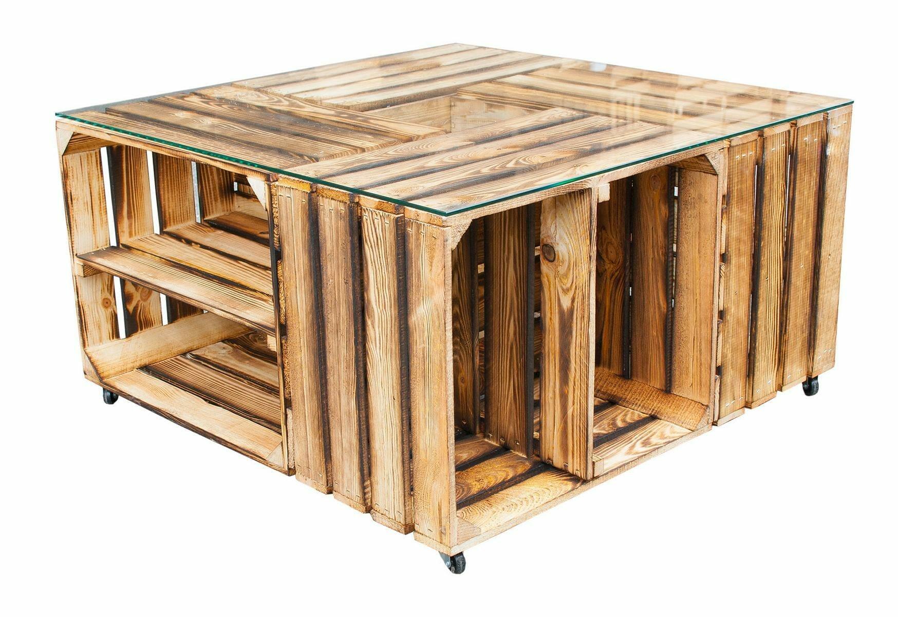 tisch aus obstkisten mit regalkisten glasplatten shop. Black Bedroom Furniture Sets. Home Design Ideas
