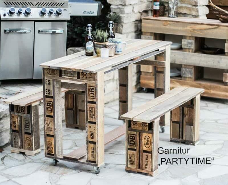 ᐅ Garnitur aus Europaletten - Tisch & Bank   Palettenmöbel Shop