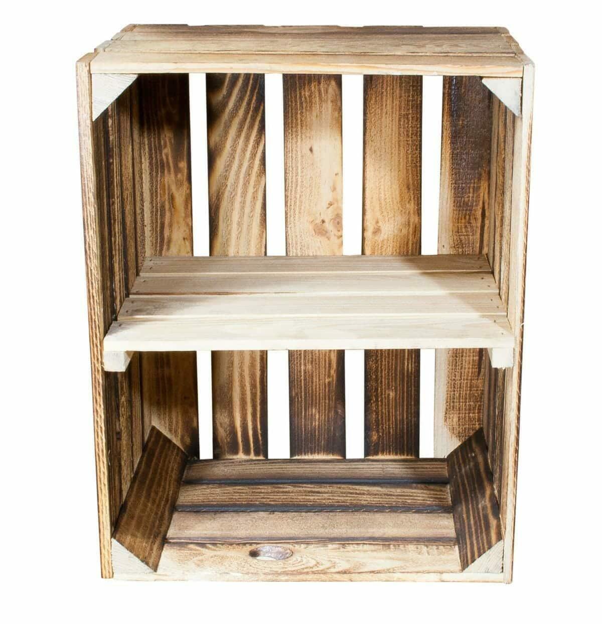 geflammte holzkiste mit einem mittelbrett in natur quer 50x40x30. Black Bedroom Furniture Sets. Home Design Ideas