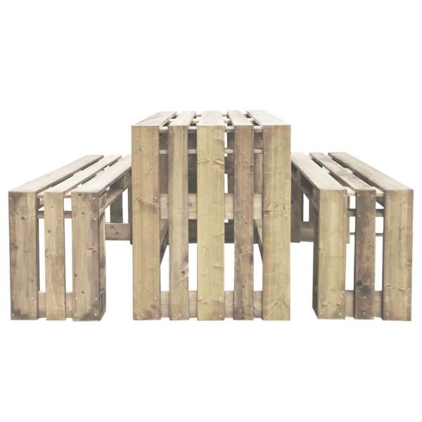 Hochsitzgruppe-Set-Tisch-Bank aus Europaletten