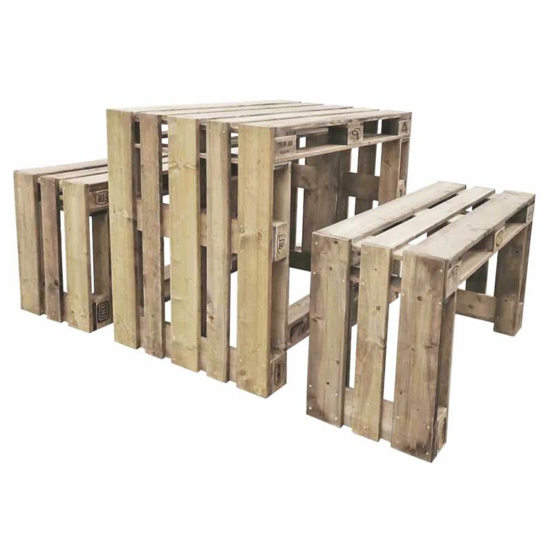 Tisch-Bank aus Europaletten-Palettenmöbel