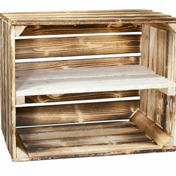 Holzkisten Regal mit Zwischenbrett-Regalkiste