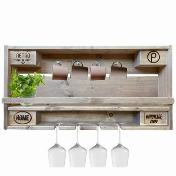 Küchenregal-Gläser-Tassen-Flaschenregal-Regal aus Paletten