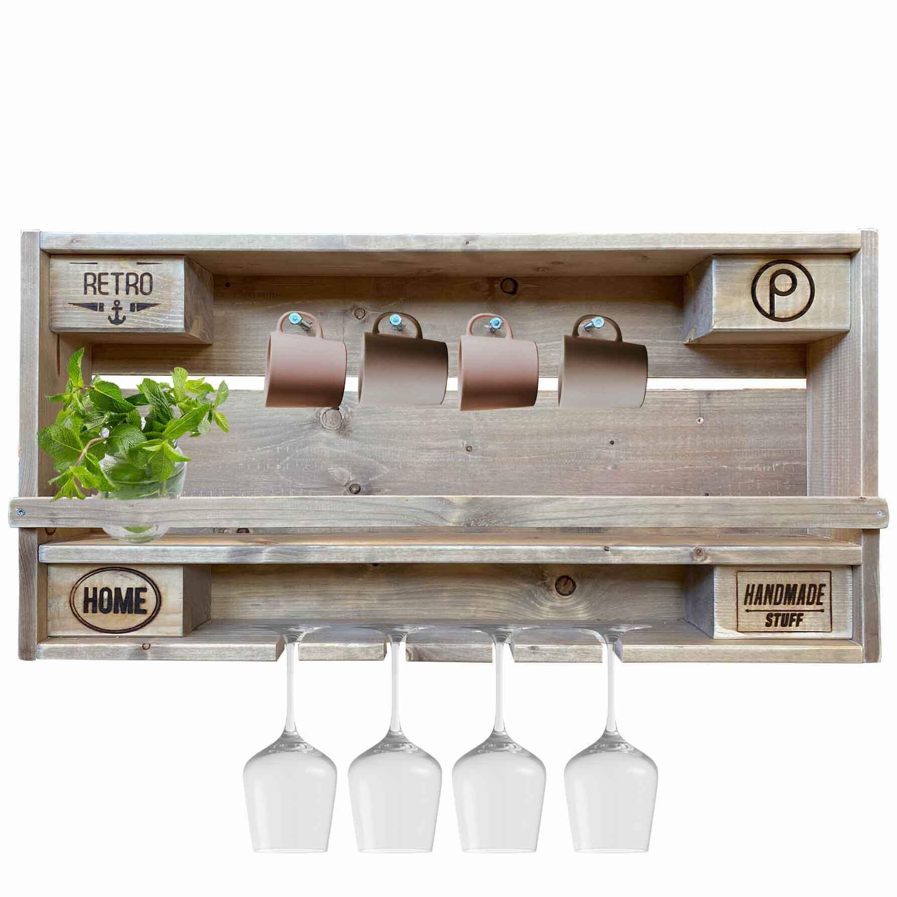 tassen gl ser regal aus paletten mit ablage palettenm bel shop. Black Bedroom Furniture Sets. Home Design Ideas