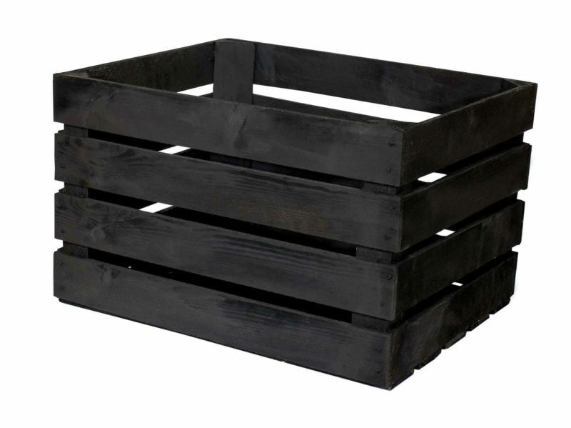 schwarze Apfelkiste-50x40x30cm
