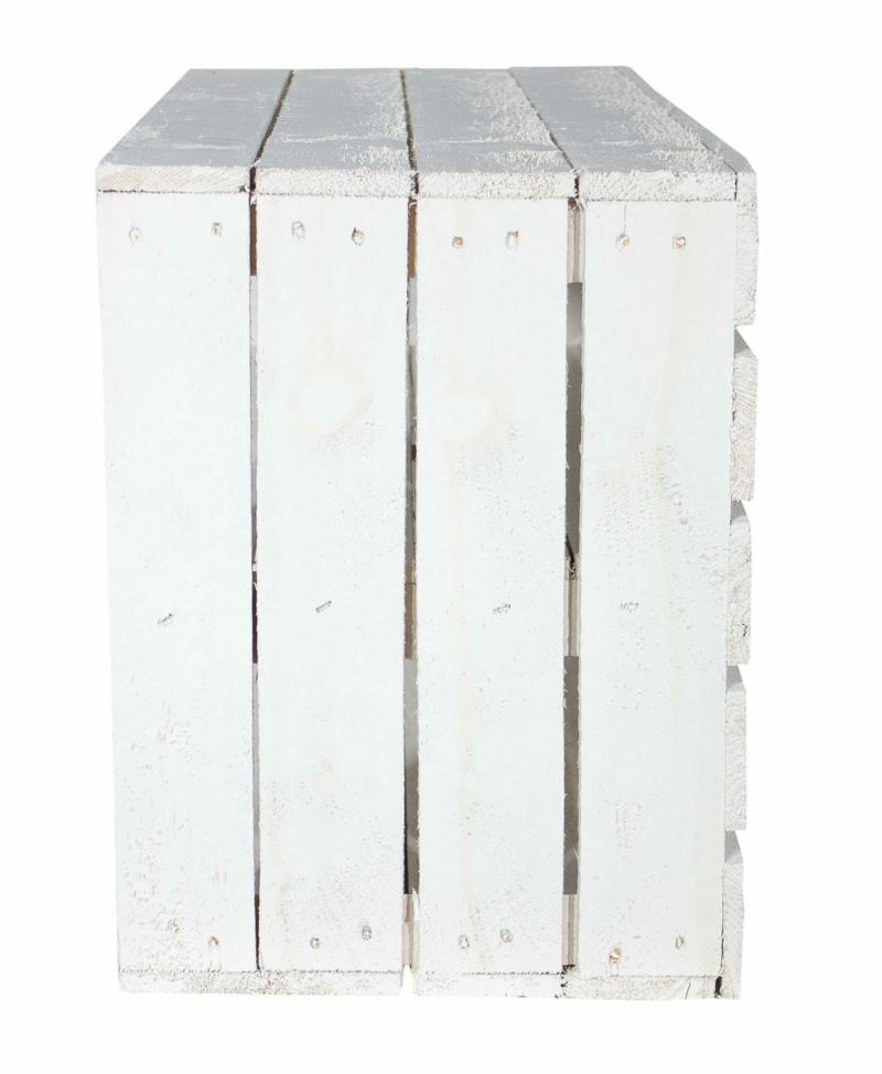 Obstkiste weiß-Holzkiste mit mittelbrett