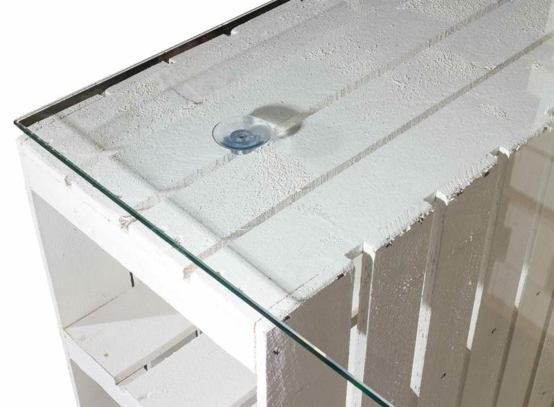 Obstkisten Tisch weiß mit glasplatte