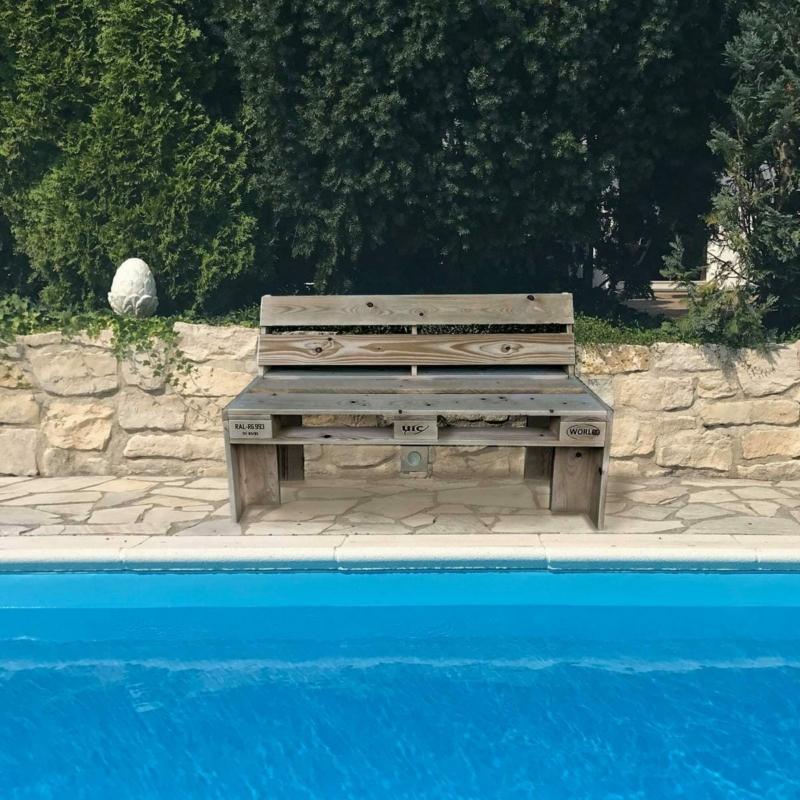 Sitzbank-Hausbank-Gartenbank aus Paletten- Palettenmöbel