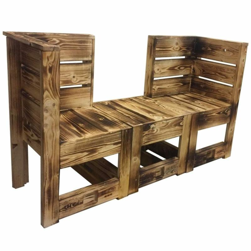 Tisch-Hocker-Beistelltisch aus Paletten