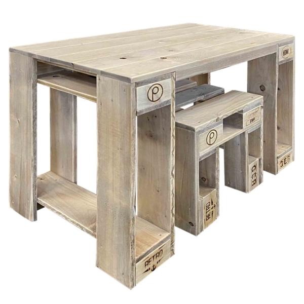 Tisch-Hocker Garnitur aus Europaletten-Palettenmöbel