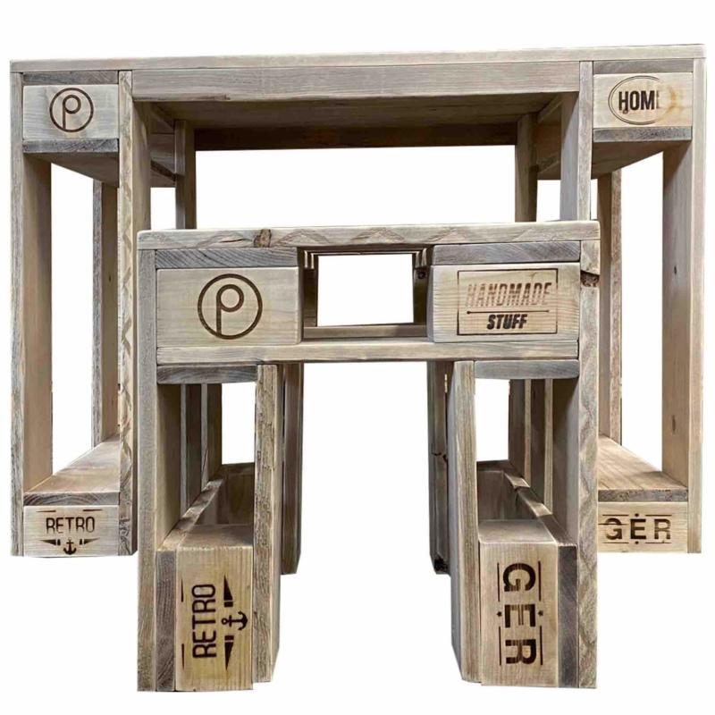 Tisch-Hocker Garnitur aus Europaletten-Palettenmöbel 24