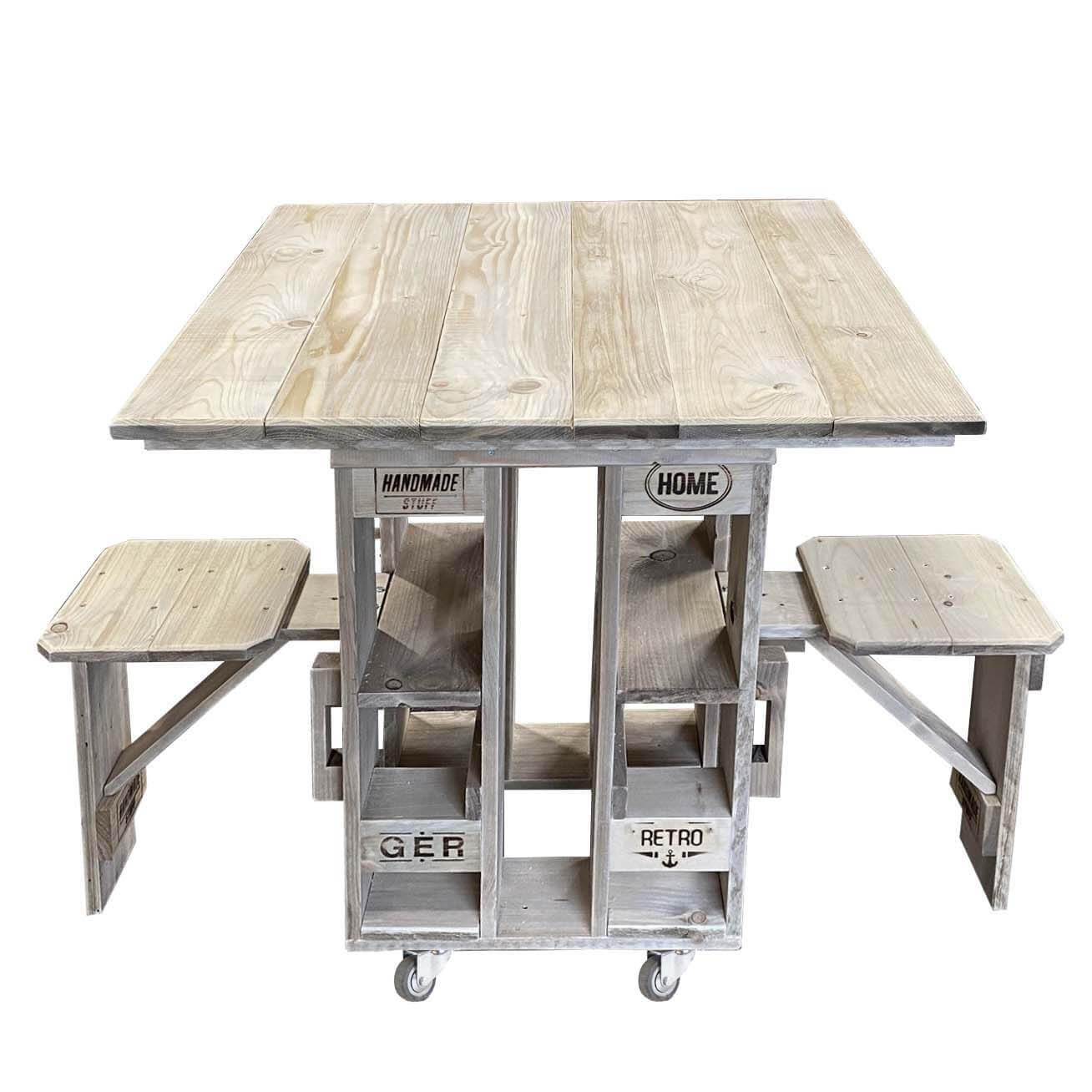 Tisch und Sitz Kombination aus Europaletten-palettenmöbel