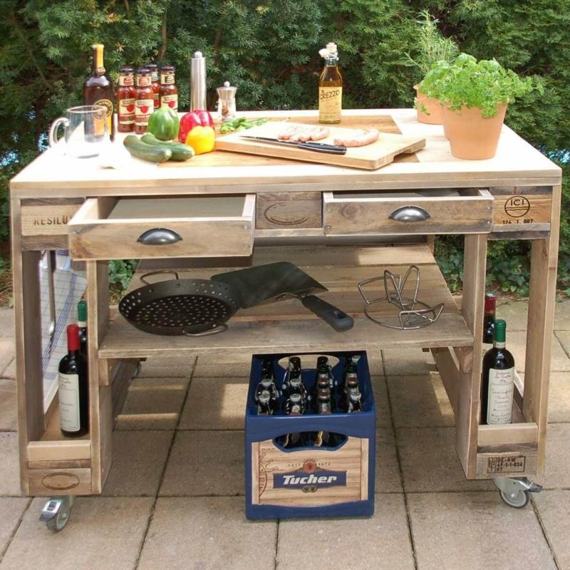 Grilltisch aus Paletten-Grill Tisch aus Europaletten