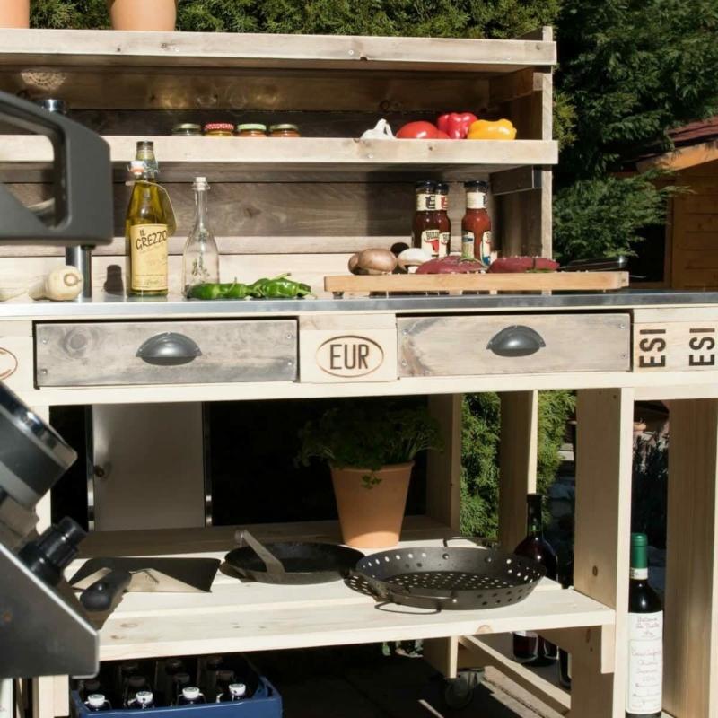 Grilltisch aus Paletten-Palettenmöbel Grillwagen