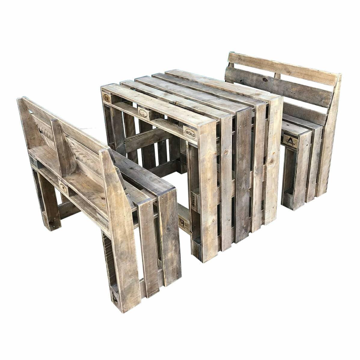 stehtisch aus paletten garnitur hoch sitz kombi palettenm bel shop. Black Bedroom Furniture Sets. Home Design Ideas