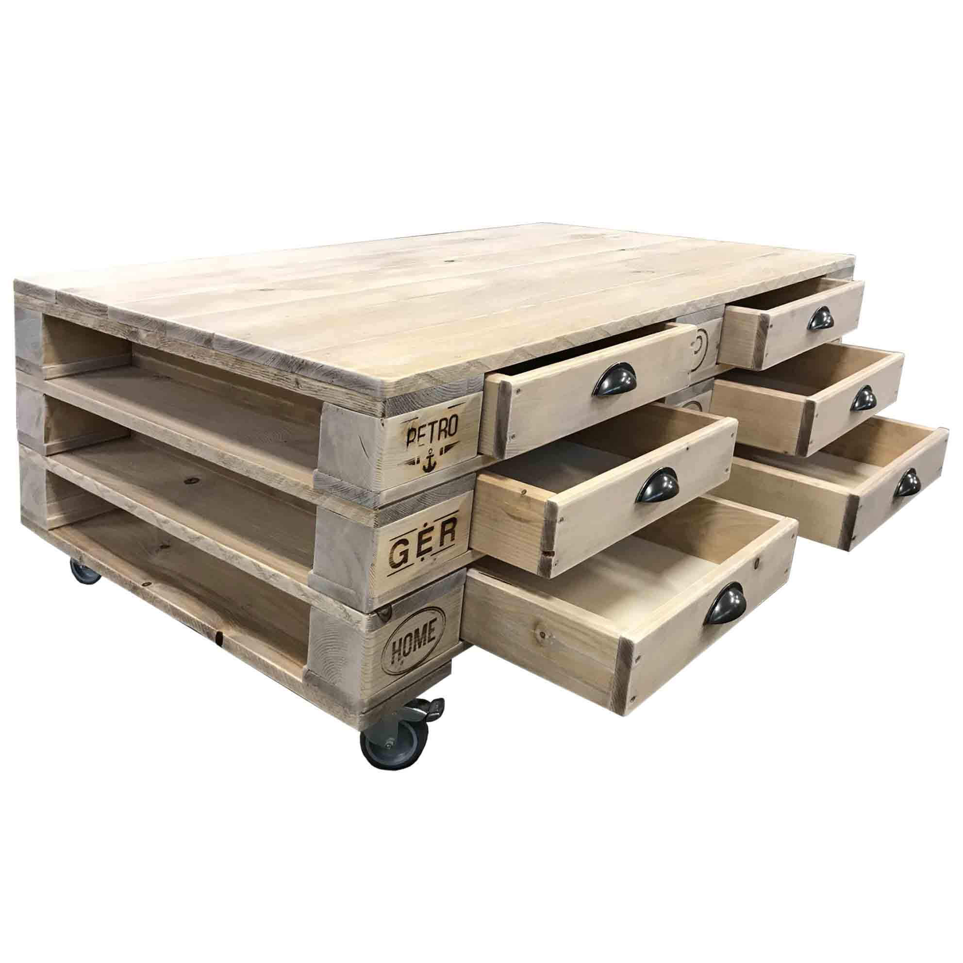ᐅ Palettentisch Mit Schubladen Rollen Palettenmobel Tisch Shop