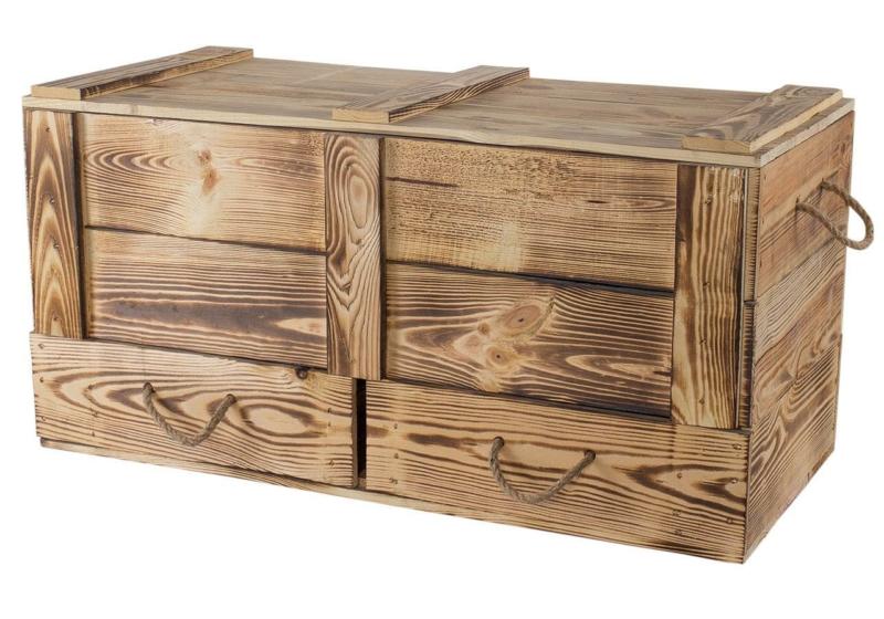 Holzkiste mit Deckel-Holztruhe-geflammt