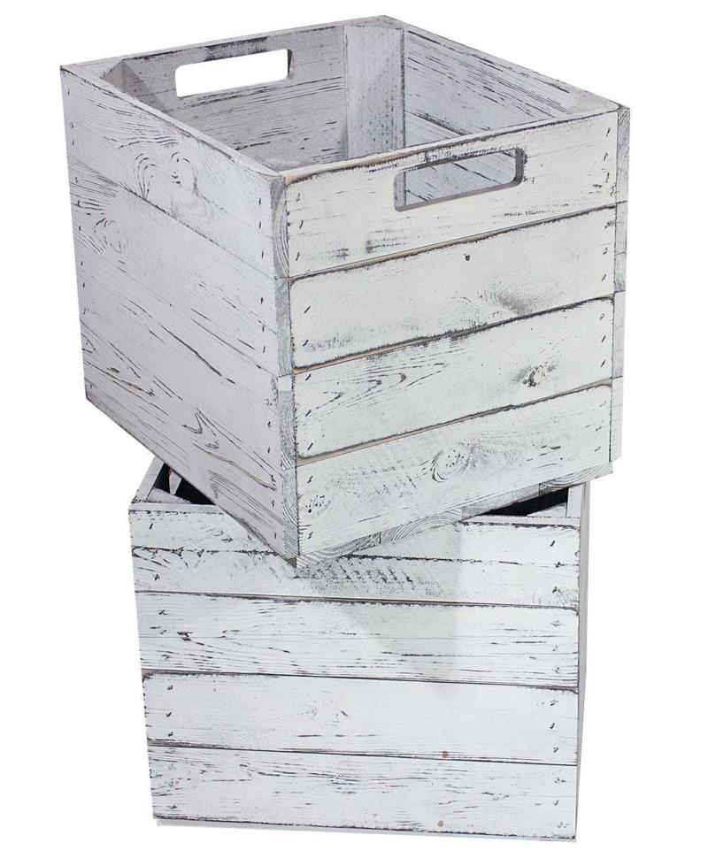 Holzkisten Regal Ikea Kallax vintage weiss