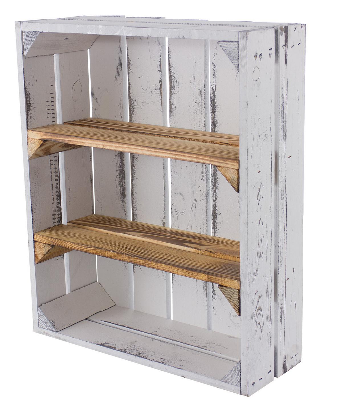 Holzkisten Regal flach-Regalkiste mit 2 Ablagefächern