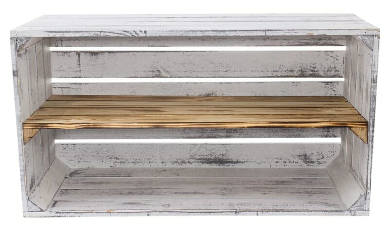 breite vintage regalkiste grau geflammt