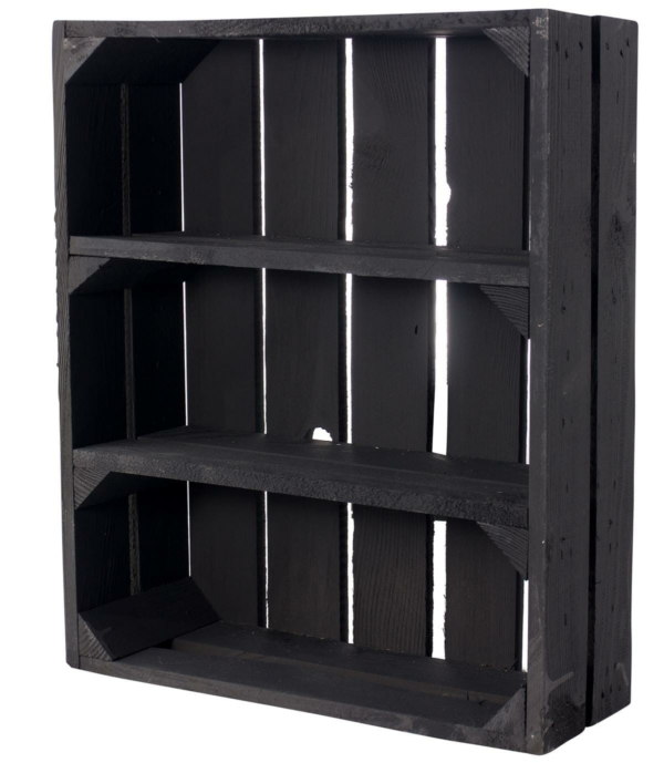 schwarze flache regalkiste-vintage holzkiste