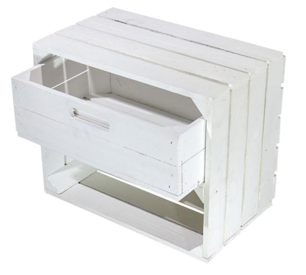 weiße Kiste mit schublade-holzkiste