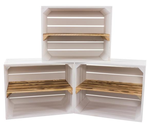 6er set sparpaket weisse holzkisten regalkisten