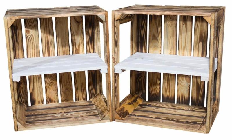 kiste geflammt mit regal als displaykiste
