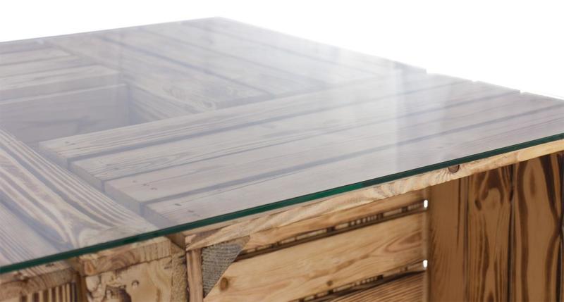 tisch aus obstkisten weinkisten mit schublade glasplatte