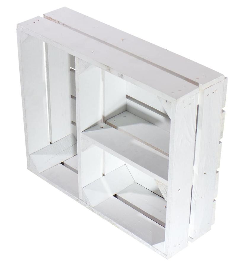 Flache Holzkiste mit t-Trenner in weiß