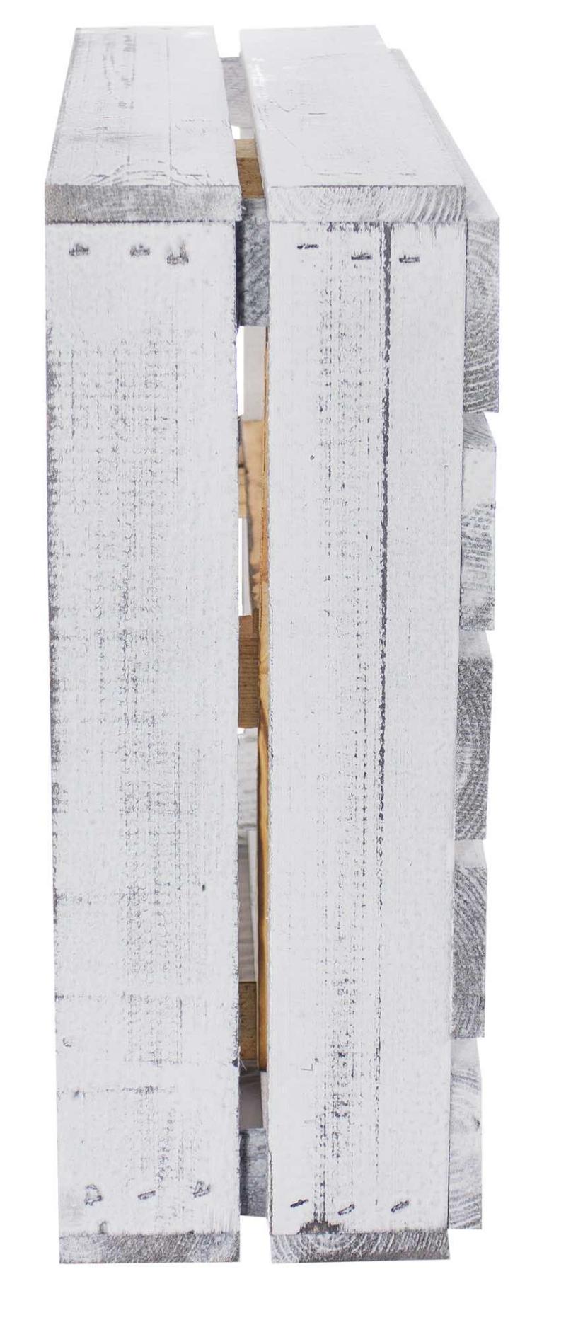 Flache Regalkiste mit 3 Faechern Shabby white geflammt Holzkisten Moebel