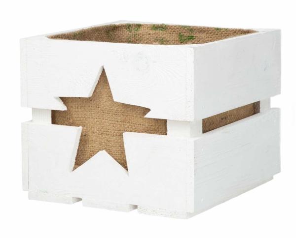 Holzkiste mit Sternausschnitt und Jutesack Geschenkkiste Geschenkkorb
