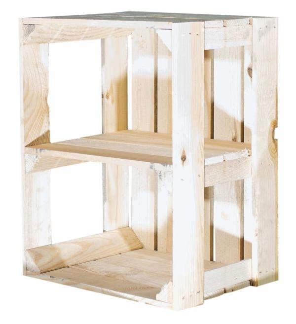 Holzkiste ohne Seitenbrett Display Edition hell