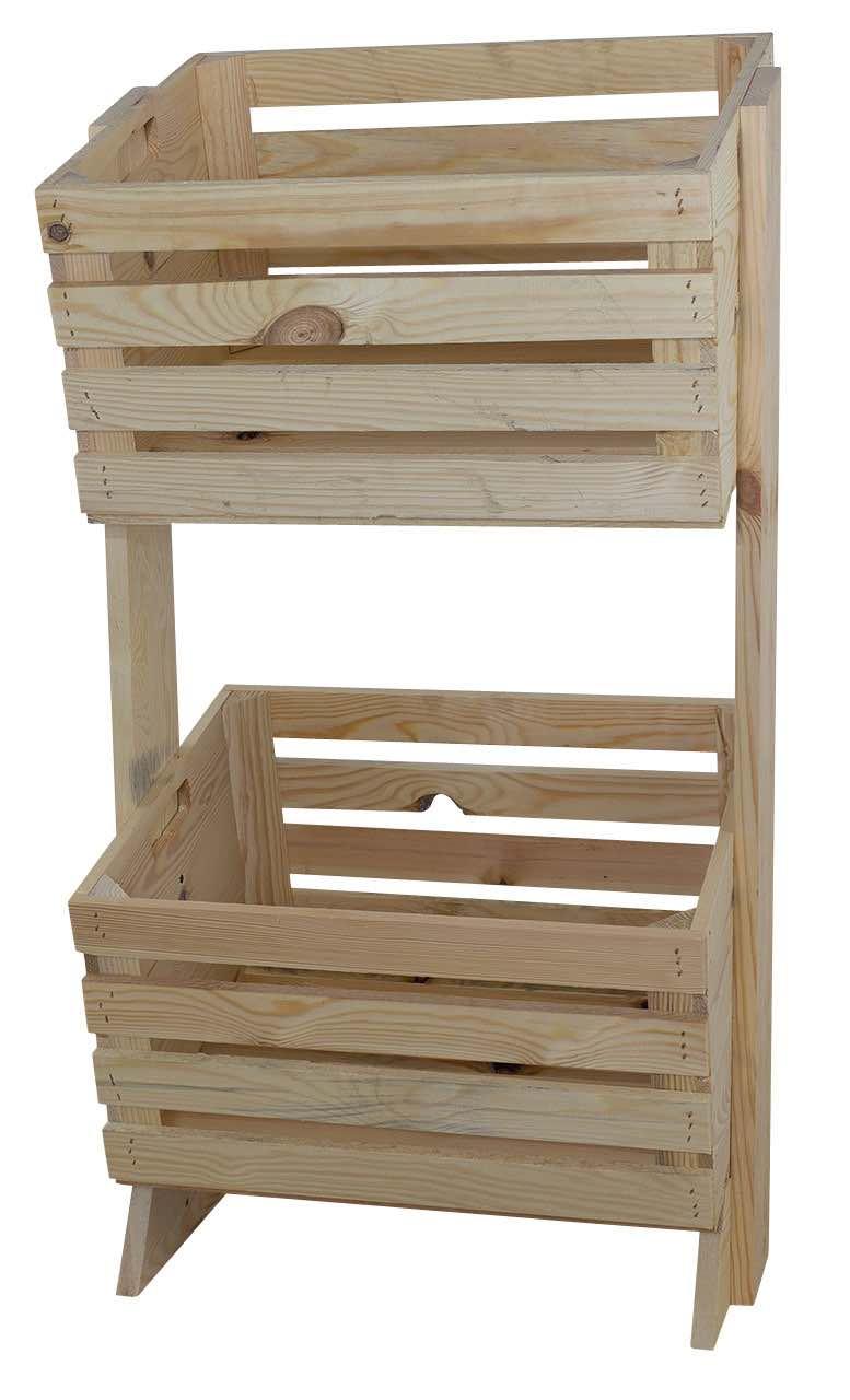 Holzkisten Regal in hellem Holz