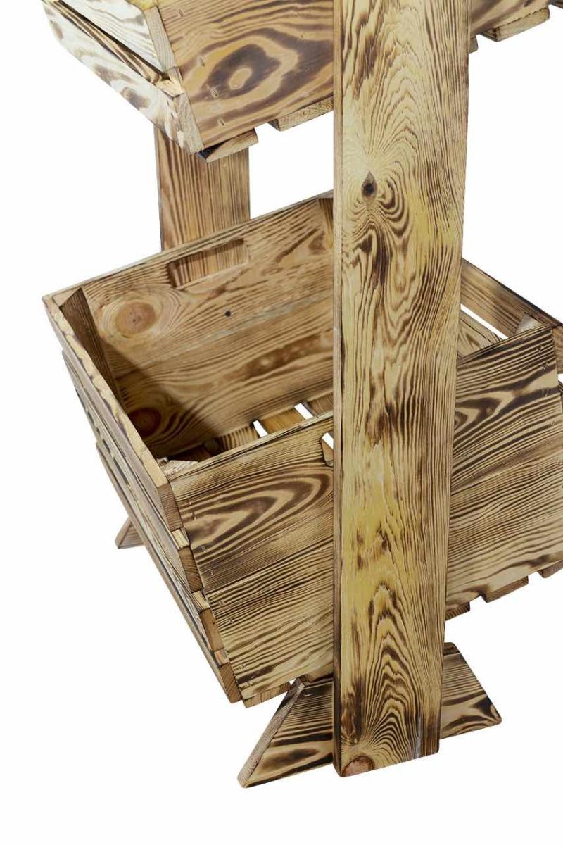Holzkisten Regal mit 2 geflammten Holzkisten