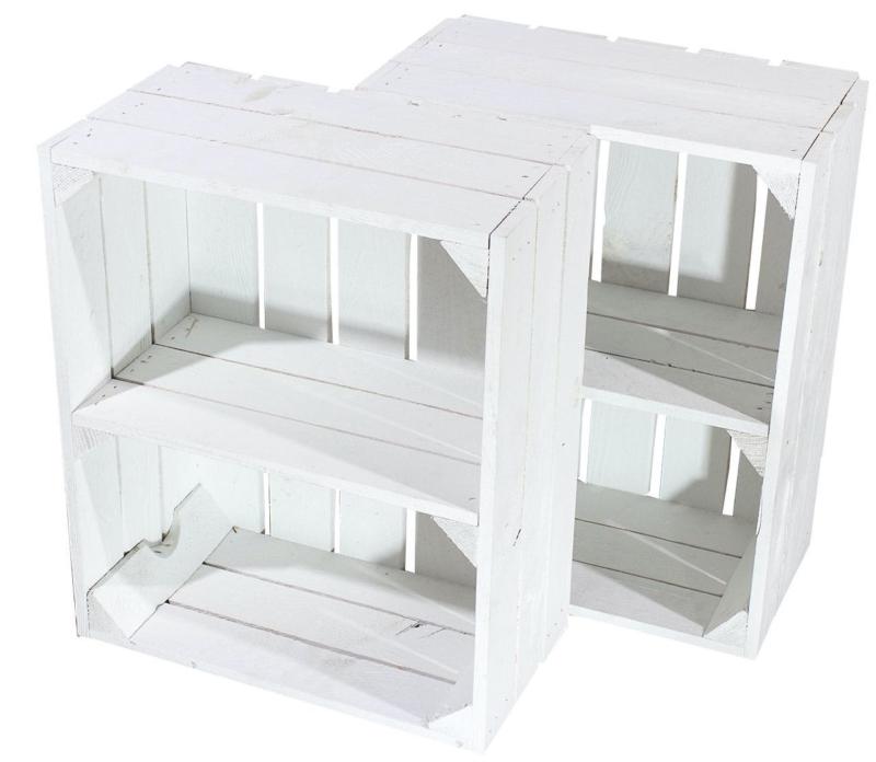 Regalkiste flache in weiß Holzkiste