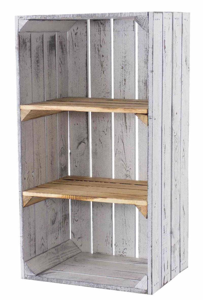 Regalschrank in Shabby White Holzkisten Möbel