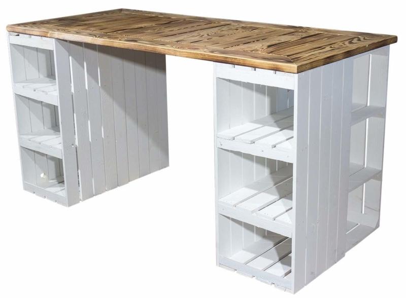 Schreibtisch aus Obstkisten mit Tischplatte geflammt weiß